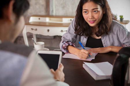 woman website content writer interview successful business man