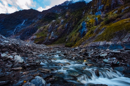 beautiful scenic of franz josef glacier most popular traveling destination in south island new zealand Stock Photo