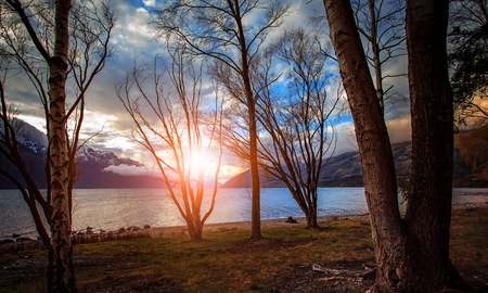 sunset sky wakatipu lake queenstown new zealand