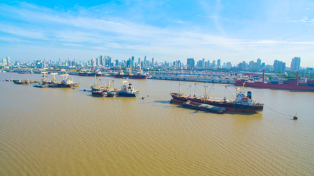 aerial view of commercial and container boat floating in chao praya river in heart of bangkok thailand capital Editorial