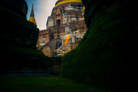 wat yai chai mongkol most popular traveling destination in ayutthaya world heritage site thailand