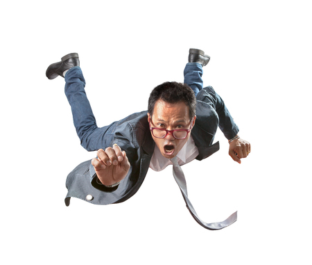 asian business man flying with amazing face isolated white background Stock Photo - 85469204