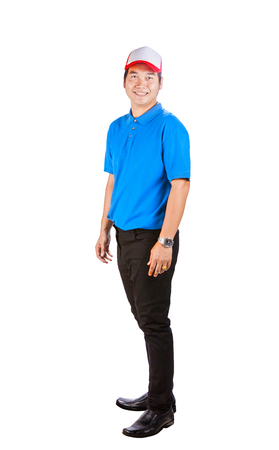 asian working man in blue shirt toothy smiling face good service mind isolated white background