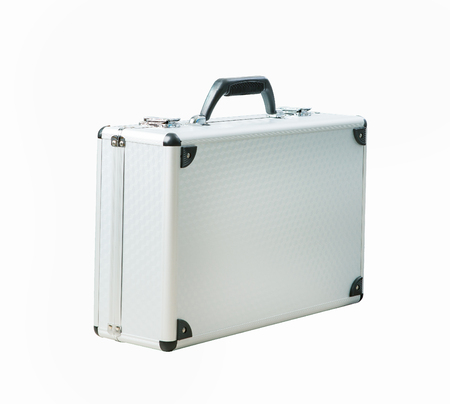 Metal briefcase isolated white background