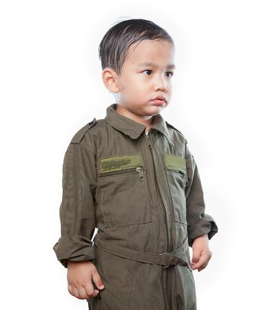 공군 조종사 양복을 입고 아시아 어린이의 초상화 격리 된 흰색 배경 스톡 콘텐츠 - 85853953