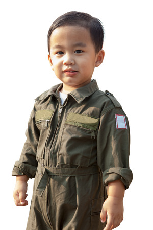 portrait of asian children wearing airforce pilot suit isolated white background