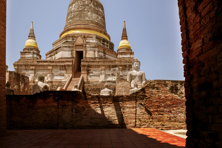 Wat Yai Chai Mongkol in Ayutthaya province world heritage site of unesco Thailand