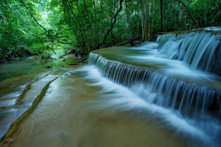 flowing of limestone water falls in hauy mae kamin national park kanchanaburi thailand Stock Photo