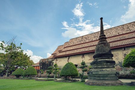 old brick church of wat yai chaimongkol ayutthaya heritage site thailand
