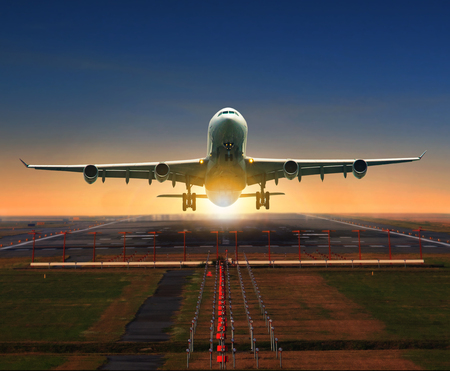 jet plane taking off from airport runway for traveling and logistic theme Imagens