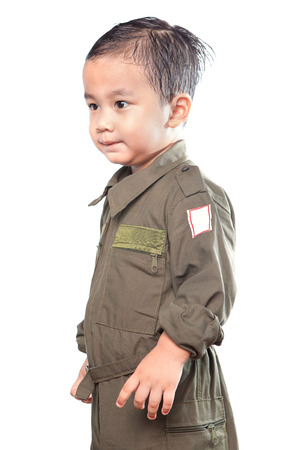 portrait of asian children wearing military pilot suit isolated white background