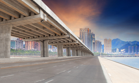 bridge road and urban building in city for infra structure development Stock Photo