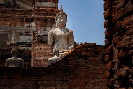 buddha statue in wat yai chai mongkol ayutthaya world heritage site of thailand