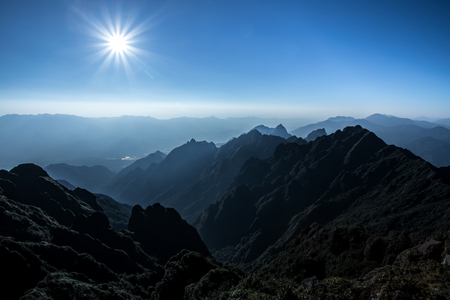 beautiful mountain scene of fansipan highest peak of indochina mountain Reklamní fotografie