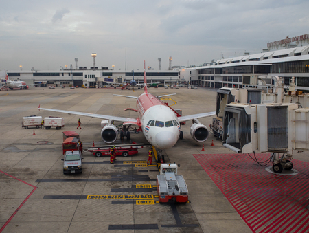 BANGKOK THAILAND - NOV2,2017 : airasia airline plane preparing to departure from Don Muang Airport ,airasia is the large low cost airliner in south east asia