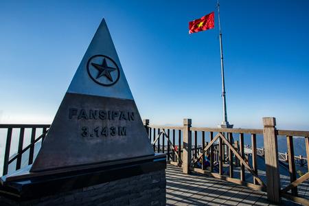 monument at highest of fansipan summit in northern of vietnam most popular traveling destination Reklamní fotografie - 92367169