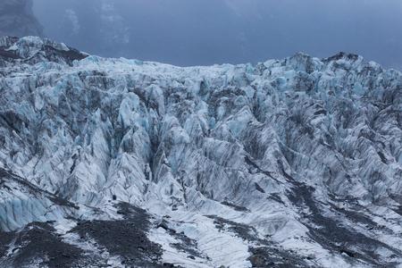 detail of frosty ice in franz josef glacier new zelaand