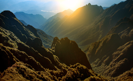 mountain range of fansipan highest mountain summit of indochina in sapa lao cai province northern of vietnam
