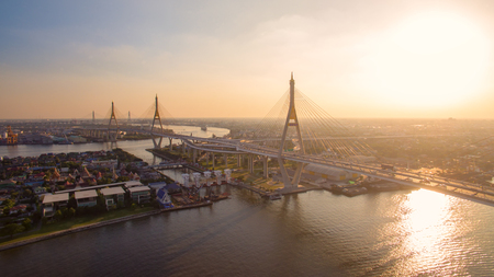 aerial view of bhumibol bridge in bangkok thailand Reklamní fotografie