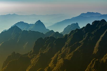 beautiful scenic of fansipan mountain peak in sapa lao cai northern of vietnam Stock Photo
