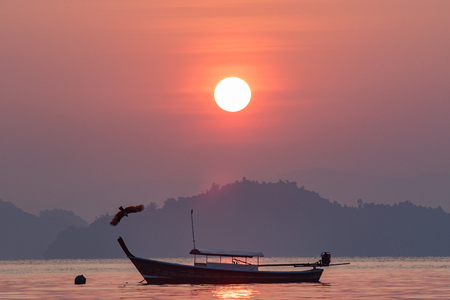 beautiful sun rising sky at koh payam island ranong southern of thailand