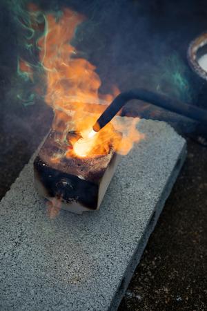 smelten van metalen in de fabriek Stockfoto