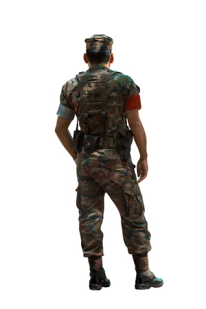 security soldier standing with  battle uniform isolated white background