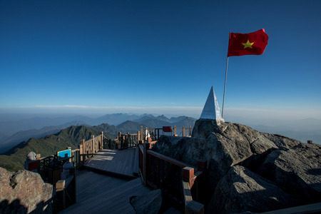 fansipan summit highest mountain peak of indochina sapa lao cai province northern of vietnam Stock Photo - 90807038