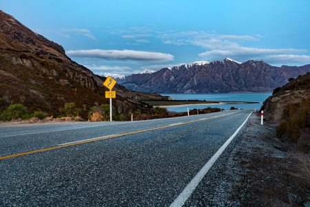 beautiful road and scenic of lake hawea southland new zealand