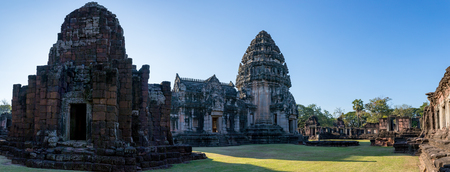 wide angle view of prasat hin phimai important historical traveling destination in nakorn ratchasima north eastern of thailand