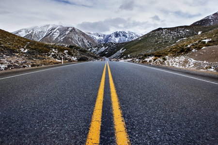 asphalt highway in arthurs pass national park most popular traveling destination in new zealand Stock Photo