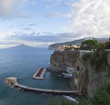 rock clif and mediterenean sea of sorrento town south italy most popular traveling destination