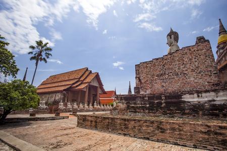beautiful scenic of wat yai chai mongkol ayuthaya province thailand