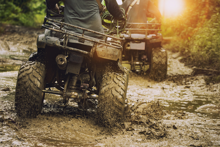 man riding atv vehicle on off road track ,people outdoor sport activitiies theme Imagens - 94189958