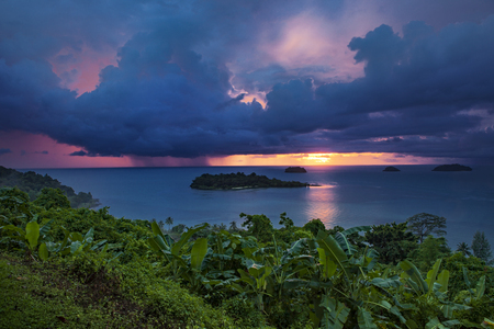 beautiful scenic of rain and storming cloud and sunset sky at koh chang island eastern of thailand Standard-Bild - 95634090
