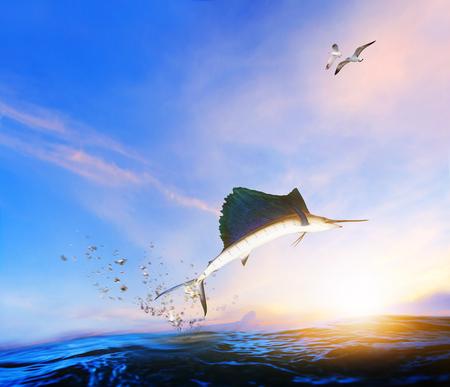 poisson marlin bleu et noir sautant dans les airs au-dessus de la mer bleue et de la mouette volant au-dessus