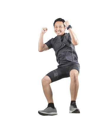 sport man happiness emotion jumping and floating mid air isolated white background