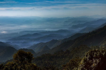 mountain layers scene of doi ang khang most popular winter traveling destination in chiangmai northern of thailand