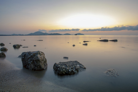 beautiful sea scape with morning light at saphan hin beach phuket southern of thailand Stockfoto
