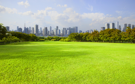 wide green grass ground of public park against high building in city Stock Photo