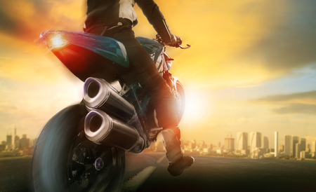 extreme action of man riding on big motorcycle Imagens