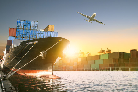 ship and container box and cargo plane flying over shipping dock use for logistic and international transportation 版權商用圖片 - 96693991