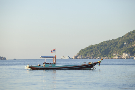 thai wooden boat in koh tao most popular traveling destination southern of thailand