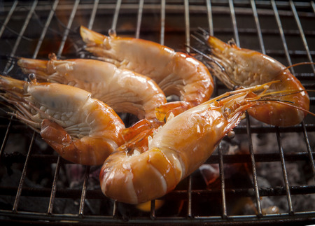 fresh water shrimp  grilled on barbecue stove