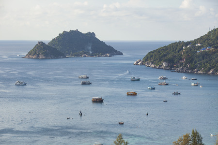 beautiful scenic high angle view of koh tao and koh nangyuan in southern of thailand