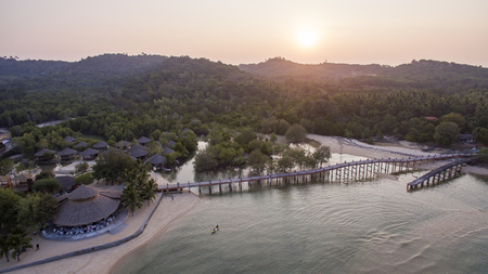 aerial view of sunset sky at koh payam island most popular traveling destination in ranong southern of thailand