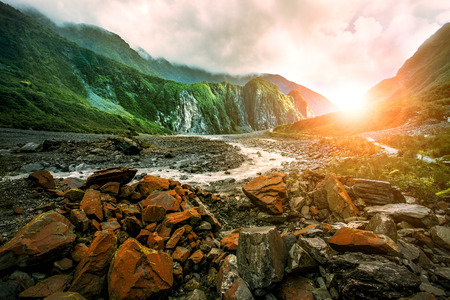 beautiful scenic of fox glacier west coast southland new zealand 写真素材