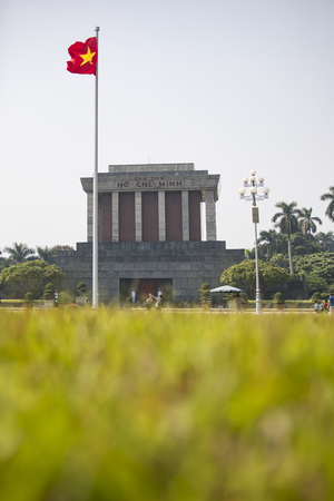 HANOI VIETNAM - NOV2,2017 : tourist taking a photograph in front of hochiminh musium important historical place of vietnam revolution in hanoi