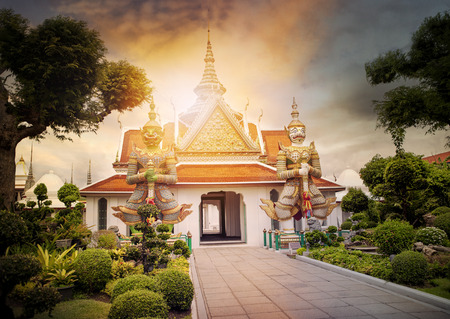 beautiful landscape of wat arun temple important landmark and traveling destinaton in bangkok thailand Stock Photo
