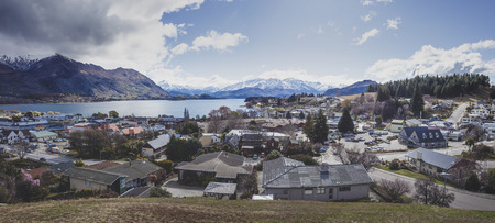 WANAKA NEW ZEALAND - SEP 5,2015 : panorama view of wanaka town most popular traveling destination in southland of new zealand